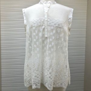 CAbi white lace blouse Sz L